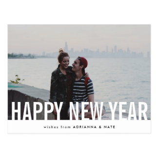 Casual Happy New Year Modern Holiday Photo Postcard