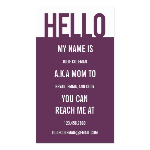 Casual Hello Mommy Card / Calling Card Business Card