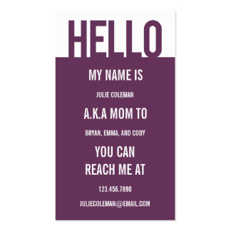 Casual Hello Mommy Card / Calling Card Double-Sided Standard Business Cards (Pack Of 100)