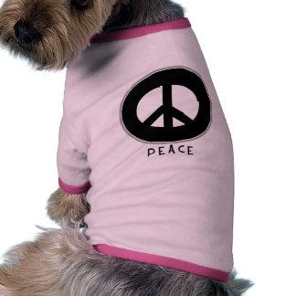 Casual Peace Sign Black Pet Tee