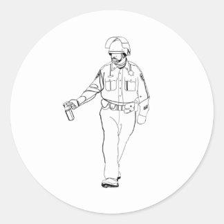 Casual Pepper Spray Cop Classic Round Sticker