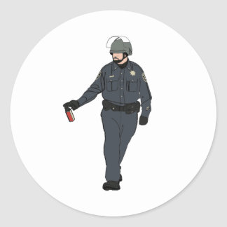 Casual Pepper Spray Cop in Color Classic Round Sticker