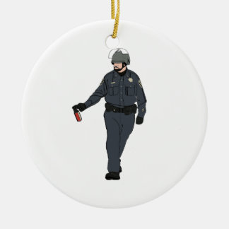 Casual Pepper Spray Cop in Color Double-Sided Ceramic Round Christmas Ornament