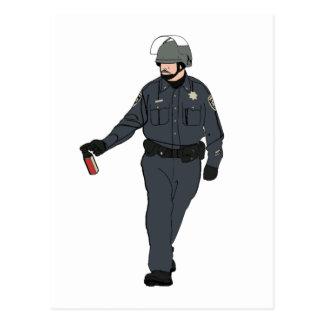 Casual Pepper Spray Cop in Color Postcard