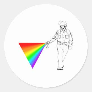 Casual Pepper Spray Cop Rainbow Classic Round Sticker