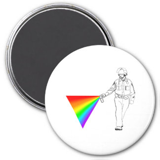 Casual Pepper Spray Cop Rainbow Magnet