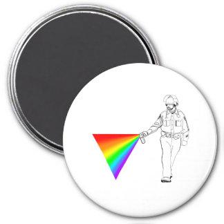 Casual Pepper Spray Cop Rainbow Magnet