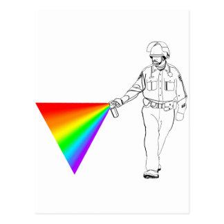 Casual Pepper Spray Cop Rainbow Postcard