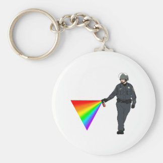 Casual Pepper Spray Cop Rainbow With Color Keychain