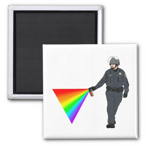 Casual Pepper Spray Cop Rainbow With Color 2 Inch Square Magnet