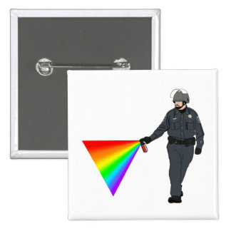 Casual Pepper Spray Cop Rainbow With Color Pinback Button