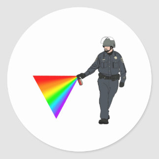 Casual Pepper Spray Cop Rainbow With Color Round Sticker