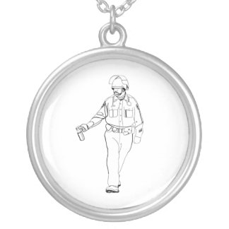 Casual Pepper Spray Cop Silver Plated Necklace