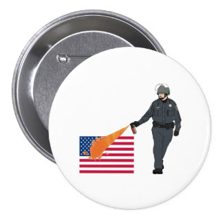 Casual Pepper Spray Cop with Flag in Color 3 Inch Round Button