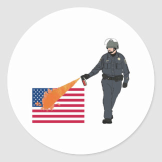Casual Pepper Spray Cop with Flag in Color Classic Round Sticker