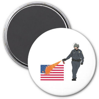 Casual Pepper Spray Cop with Flag in Color Refrigerator Magnet