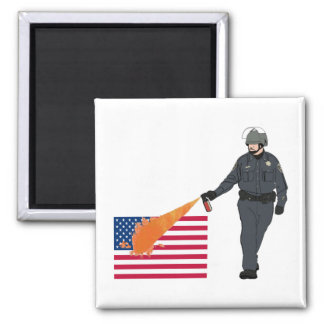 Casual Pepper Spray Cop with Flag in Color Magnet