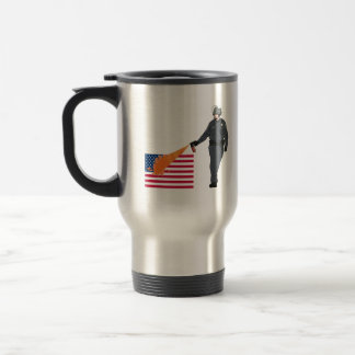 Casual Pepper Spray Cop with Flag in Color Mug