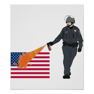 Casual Pepper Spray Cop with Flag in Color Poster