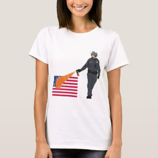 Casual Pepper Spray Cop with Flag in Color T-Shirt