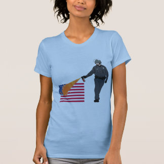 Casual Pepper Spray Cop with Flag in Color Tees