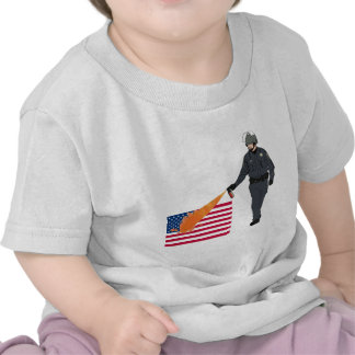Casual Pepper Spray Cop with Flag in Color Tee Shirt
