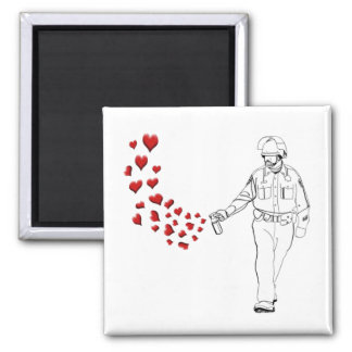 Casual Pepper Spray Cop with Hearts 2 Inch Square Magnet