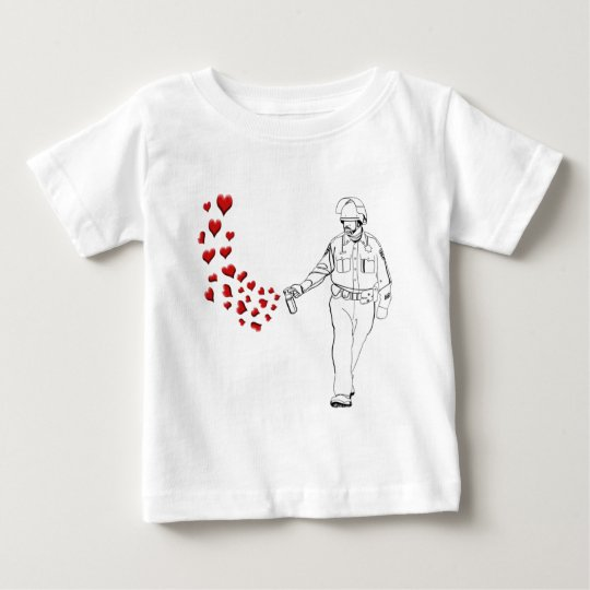 Casual Pepper Spray Cop with Hearts Baby T-Shirt