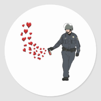 Casual Pepper Spray Cop with Hearts in Color Classic Round Sticker