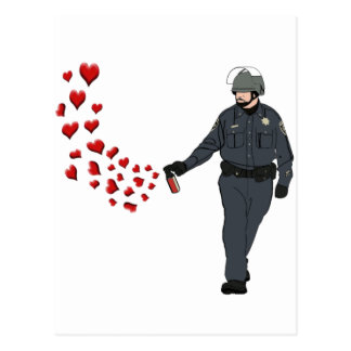 Casual Pepper Spray Cop with Hearts in Color Postcard