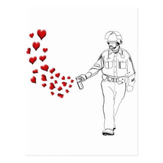 Casual Pepper Spray Cop with Hearts Postcard