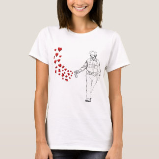 Casual Pepper Spray Cop with Hearts T-Shirt