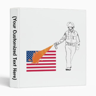 Casual Peppery Spray Cop with Flag 3 Ring Binder