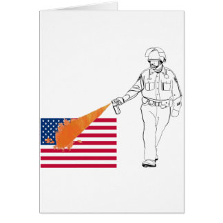 Casual Peppery Spray Cop with Flag Card