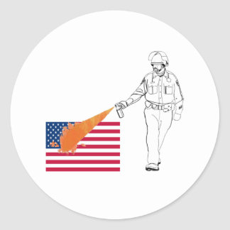 Casual Peppery Spray Cop with Flag Classic Round Sticker