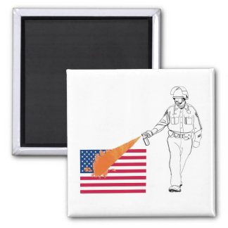 Casual Peppery Spray Cop with Flag Refrigerator Magnet