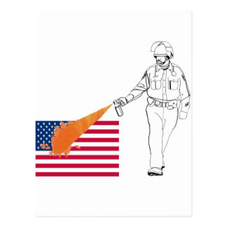 Casual Peppery Spray Cop with Flag Postcard