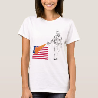 Casual Peppery Spray Cop with Flag T-Shirt
