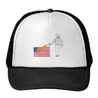 Casual Peppery Spray Cop with Flag Trucker Hat