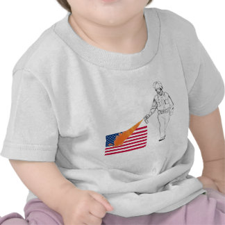 Casual Peppery Spray Cop with Flag T Shirt