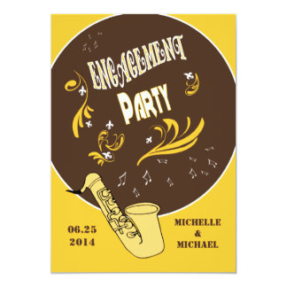 Casual Retro Style Jazz Engagement Party Card