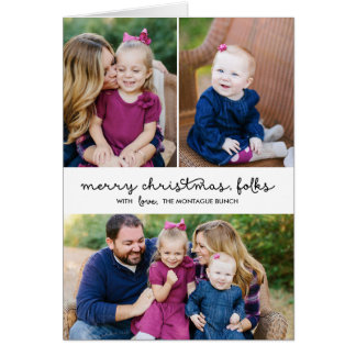 Casual Script 3 Photo Holiday Folded Greeting Card