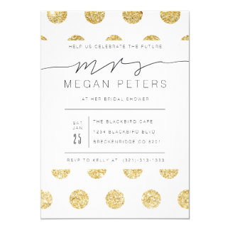 Casual Script | Gold Polka Dot Bridal Shower Card