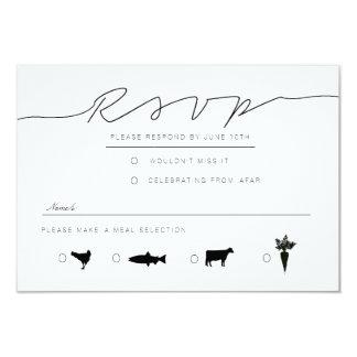 Casual Script   Modern Black & White RSVP Card