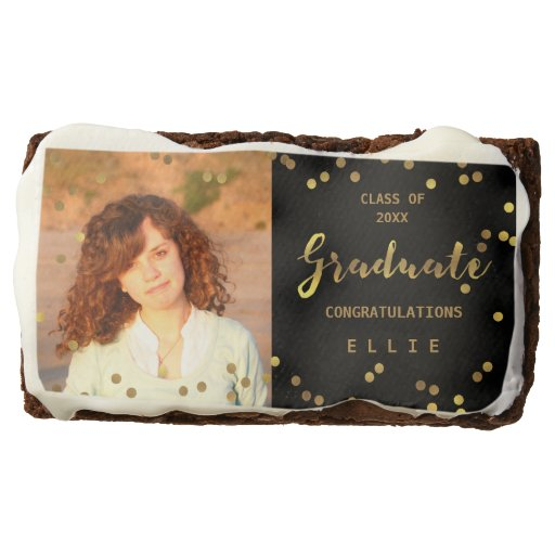 Casual Script Personalized Gold Confetti Black Brownie