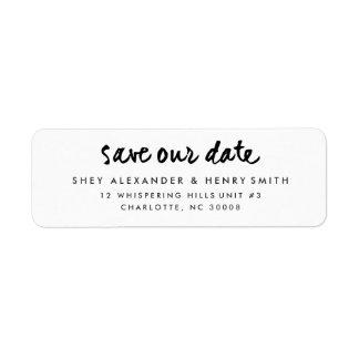Casual script | Save the date return address label