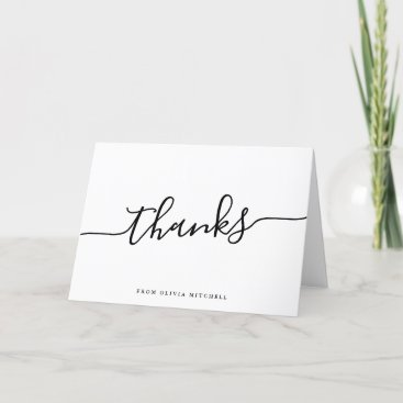 Casual Script | Thanks in Black and White Thank You Card