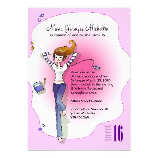Casual Sweet 16 Birthday Party Invitation 5 Quot X 7 Casual Happy Birthday Wishes