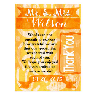 Casual Tangerine Wedding Thank You postcard