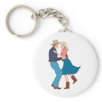 Casual Western Wedding Reception Keychain